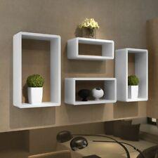 vidaXL 4x Cuboid Shelf White Wall Shelves Stand Storage Display Unit Bookcase
