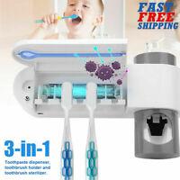 Toothbrush Holder & UV Light Sterilizer Cleaner & Automatic Toothpaste Dispenser