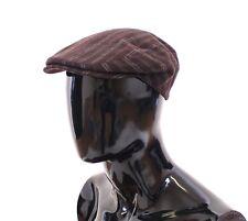 NEW $280 DOLCE & GABBANA Hat Brown Striped Wool Logo Newsboy Cap Cabbie s. 58/M