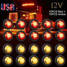20X Smoked Round Side Marker lights Truck Trailer Amber Red 3/4