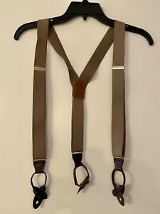 CAS W Germany Suspenders Braces Leather Button Tab Brown Brass Metal