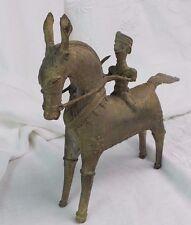 VINTAGE CHINESE BRASS WARRIOR HORSE