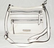 Nine West White Faux Leather & Black Accents Crossbody Bag with Adjustable Strap