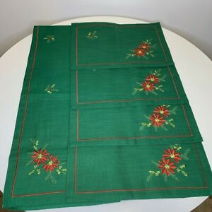 Christmas Holiday Table Setting Linens Set Green with Red Holly Print Runner