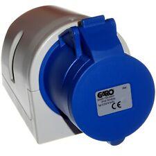 32 Amp 3 Pin Socket IEC CEE Connector 2P+E Wall Surface Blue 220V 230V 240V GARO