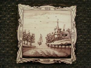 Antique Delft manganese tile depicting sailing boat and seascape 21/399Y
