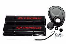 SBC Black Engine Dress-Up Kit w/ Red Chevrolet Valve Covers, Breather