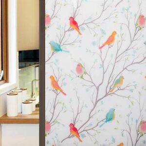 Glass Window Films 3D Matte Non-Adhesive Frosted Bird Decorative Vinyl 100/200cm
