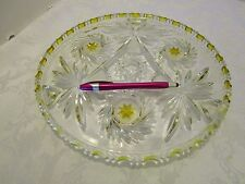 """Amberette Glass crystal Cake Plate Studio Silversmiths Germany.11½"""" footed"""