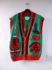Go Hogs Arkansas vintage pure cotton chunky sleeveless cardigan/waistcoat size M