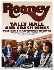 ROONEY/ TALL HALL / CRASH KINGS 2009 PORTLAND CONCERT TOUR POSTER -Group By Wall