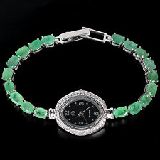 Sterling Silver 925 Genuine Green Emerald & Lab Created Diamond Watch 7.75 Inch