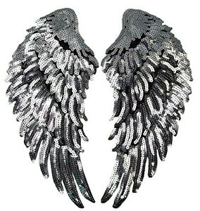 Angel Wings Patch Silver Sequins Love Gold Iron On Size: 27 cm x 13 cm
