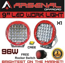 1XRed Round 9Inch 96W Cree Led Driving Spot Work Light 4WD Offroad  HID SUV