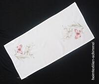 STICKEREI Tischdecke FRÜHLING Tischdeckchen SCHMETTERLING Deckchen SOMMER 40x85
