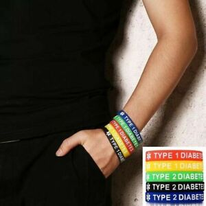 Diabetic Medical Alert Bracelet Badge Type 1 Type 2 Diabetes Survival Silicone