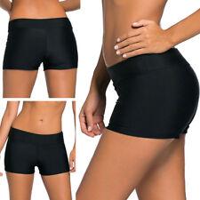 Black Stretchy Wide Waist Cover Up Bikini Shorts Swimwear Boardshorts S-2XL USA