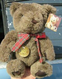"""VINTAGE TEDDY BEAR PLUSH 13"""" GOTTA GET GUND BIRTHDAY TAG 85TH ANNIV 1982 NICE"""