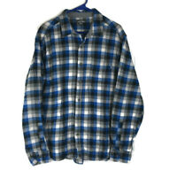 Eddie Bauer Mens Blue Plaid Long Sleeve Button Front Shirt XXL
