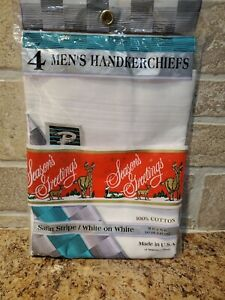 Four (4) Men's White Handkerchiefs 100% Cotton Satin Stripe Packaged VTG NEW