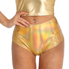 Women Shiny Leather Zipper High Waisted Booty Shorts Hot Pants Swim Brief Dance