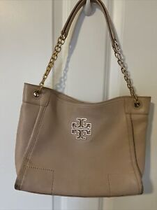 TORY BURCH SLOUCHY CHAIN BEIGE LEATHER SHOULDER TOTE HANDBAG
