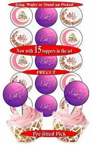 15 Eid Mubarak edible cupcake toppers, pre-cut, 3 sizes, 12 choices (2)