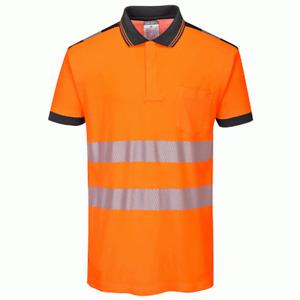 Portwest T180 PW3 Hi-Vis Short Sleeve Polo Shirt - Orange/Navy