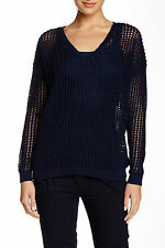 VINCE Women's Grid Mesh Sweater~Cotton~Coastal Blue~S~NWT Nordstrom $295