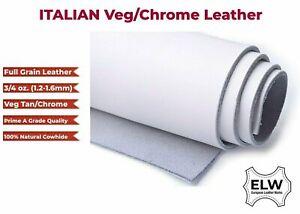 "ITALIAN Full Grain 100% Cowhide Leather Tooling Cut 12""x12"" - 3/4oz 1.6mm- WHITE"
