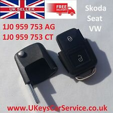 Genuine VW Seat Skoda 2 Button Remote Key Fob Blade HU66 1J0959753AG 1J0959753CT