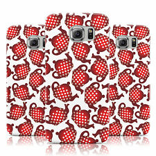 RED POLKA DOT TEAPOT PRINT WHITE CASE COVER FOR SAMSUNG GALAXY MOBILE PHONES
