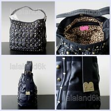 Betsey Johnson Lucky Star Black Leather Studs Hobo Bucket Shoulder Bag Handbag