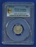 1916 D PCGS AG Detail Mercury Dime 10c Silver Key 1916-D AG-Detail Super Rare !