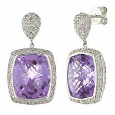 14k White Gold 1/2ctw Amethyst & Diamond Pave Dangle Earrings