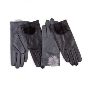 Isotoner Ladies Leather Glove with Pom Pom