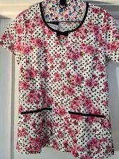 Koi Scrub Top Women's Small Print Cherry Blossom Style Rose