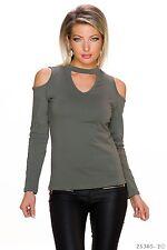 Sexy Shirt Pulli Pullover Rundhals und Schulterfrei Cut Out Oliv 34 36 38