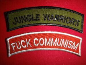 2 Vietnam War Arcs Patches: JUNGLE WARRIORS + FVCK COMMUNISM