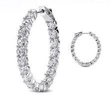 Hoop Oval shape Earring 18 x 0.30 ct 5.49 carat Round cut Diamond 14k White Gold
