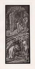 Fascinating Edward BURNE JONES 1800s Antique Religious Print NATIVITY FRAMED COA