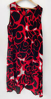 TAKING SHAPE TS Layered Chiffon Black, Red & White Tunic Dress Size 18 BNWT