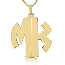 Gold Block Letters Monogram Necklace - Gold Plated Initial Necklace for Her