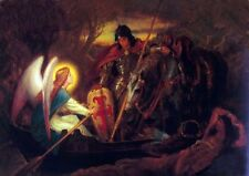 Stunning Oil painting How an Angel rowed Sir Galahad across the Dern Mere canvas