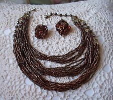 Vintage Bronze Seed Bead Necklace & Earrings Signed Laguna