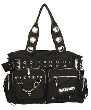 Banned SHOULDER BAG MANETTE Sturdy Canvas Handbag Gotico Emo Rockabilly Nero