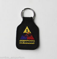 US ARMY 1st ARMORED DIVISION EMBROIDERED KEY CHAIN KEY RING 1.75 X 2.75 INCHES