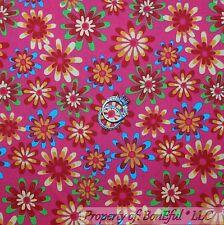 BonEful FABRIC FQ Cotton Quilt VTG Pink Blue Red Rain*bow Yellow Flower Dot Girl