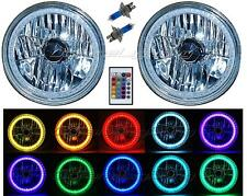 """7"""" RGB SMD Multi-Color White Red Blue Green LED Halo Angel Eye Headlights Pair"""