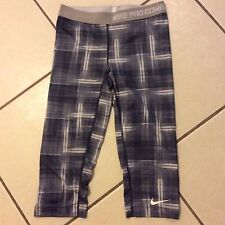 NIKE PRO Grey Plaid SPORT CAPRI M Medium DRI FIT Fitness Legging